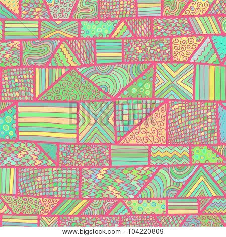 Zentangle Lines Pattern Light Pink Blue Yellow