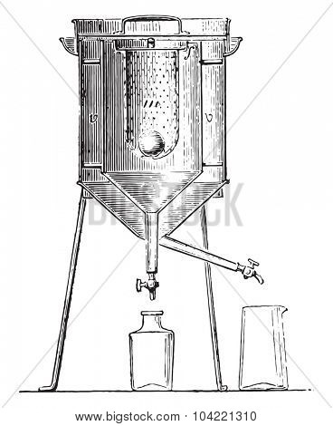 Calorimeter of Lavoisier and Laplace, vintage engraved illustration. Industrial encyclopedia E.-O. Lami - 1875.