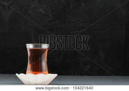 Turkish Tea and black background
