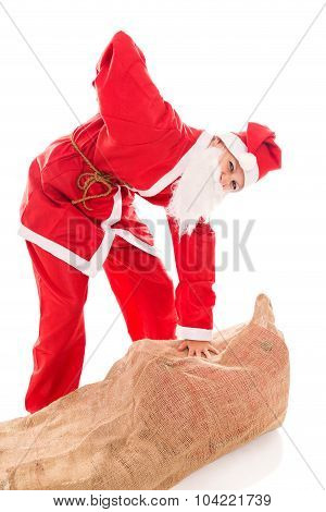 Santa Girl With Backache Through Too Much Presents, Isolated On White