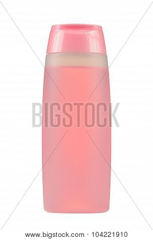 Cosmitic Bottle With Pink Liquid (Facial Tonic) Isolated On White Background
