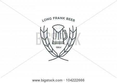 Line beer logo. Glass. Stock vector.
