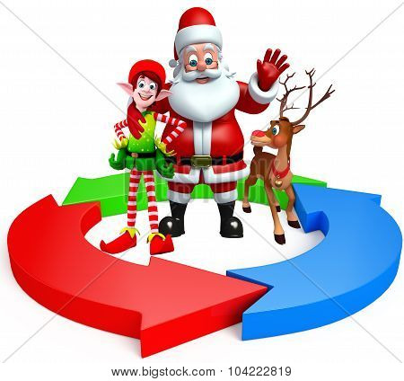 Cartoon Santa Claus With Elves And Reindeer