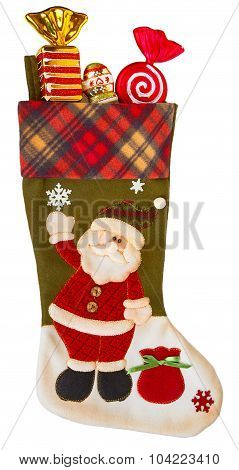 Green And White Stocking With Candies
