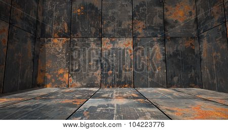 Rusty Metal Room As Background