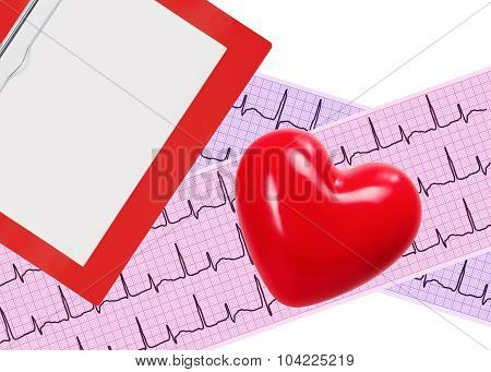 Heart Analysis, Electrocardiogram Graph (ecg), Clipboard And Red Heart