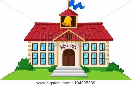 Cartoon school building isolated with green yard