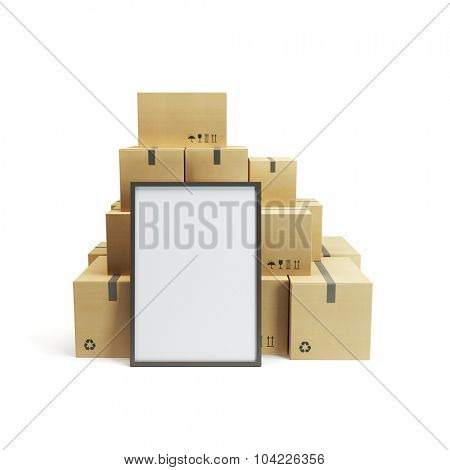 pile of cardboard box and empty billboard