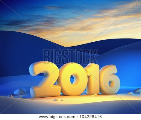 new year 2016, 3d render