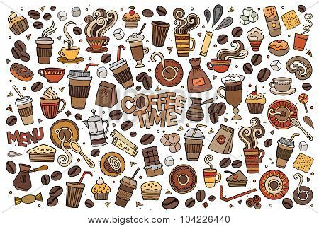 Colorful vector hand drawn Doodle cartoon set of objects