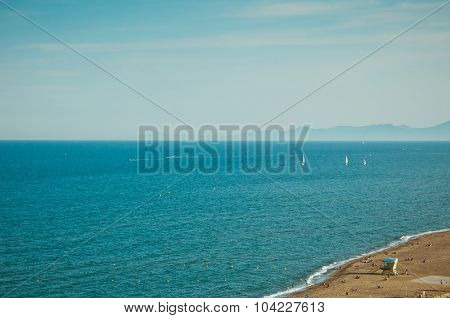 beach and sea of south of france