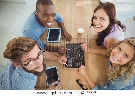 Overhead portrait of smiling business people writing business terms on slate at table