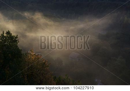 Foggy Landscape.Foggy valley landscape. Lithuania