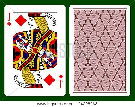 Playing card with a Jack of diamonds and backside background