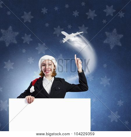 Santa woman with blank banner. Place for your text