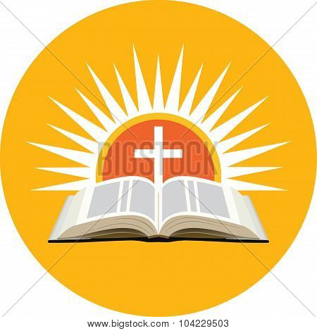 Bible, Sunset And Cross. Church Logo Concept.