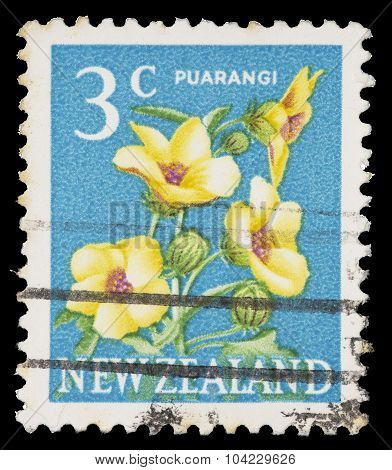 Postage Stamp Printed In New Zealand Showing A Puarangi Flower, Hibiscus Richardsonii