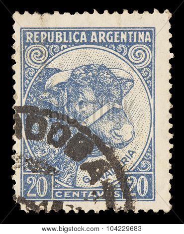 Postage Stamp Printed In Argentina Showing Bull And Cattle Breeding