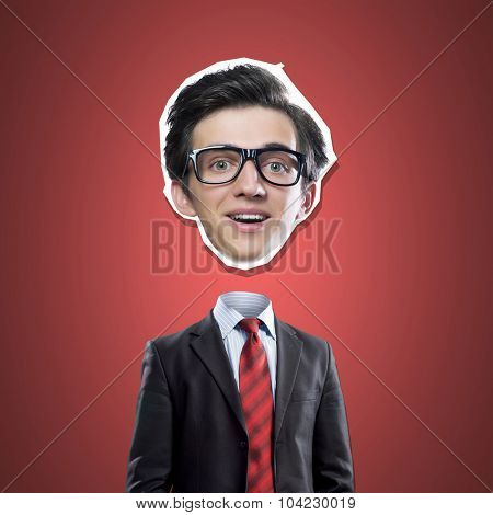 Funny businessman and his head hanging on rope