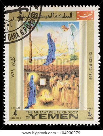 Postage Stamp Printed In Yemen Showing The Christmas Christ's Nativity With Mary And An Angel