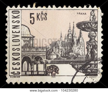 Postage Stamp Printed In Czechoslovakia Showing Historical Building From The City Of Prague