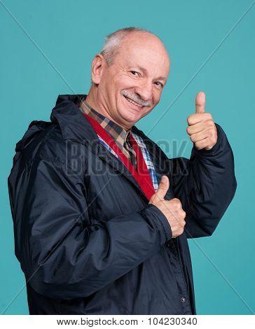 Senior Man Showing Ok Sign