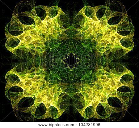 Translucent symmetric nebula complex structured, bubbles and flows in different directions . Fractal