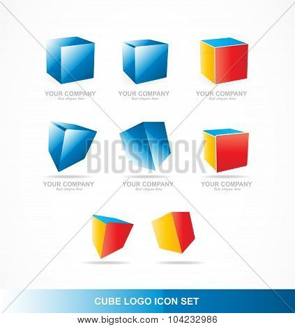 Cube Logo Icon Set Corporate