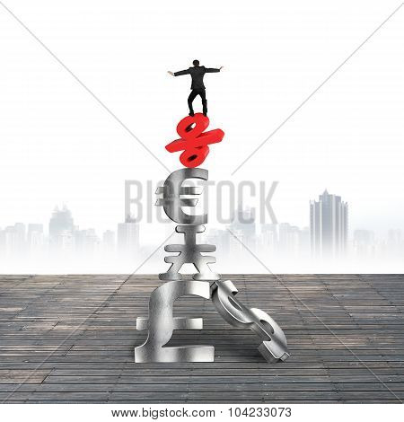 Businessman Balancing On Red Percent Sign Pound Currency Symbols