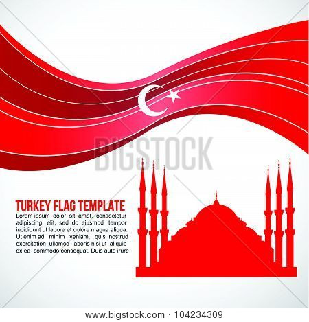 Turkey flag wave and Sultan Ahmed Mosque