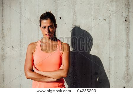 Confident Motivated Sportswoman Portrait