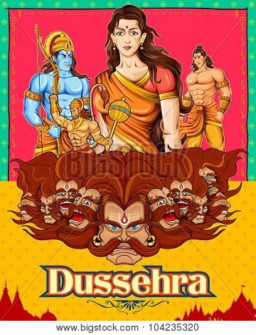 illustration of Lord Rama, Sita, Laxmana, Hanuman and Ravana in Dussehra poster