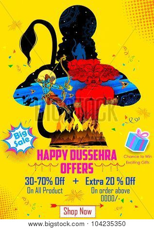 illustration of Lord Rama killing Ravana in Happy Dussehra sale promotion poster