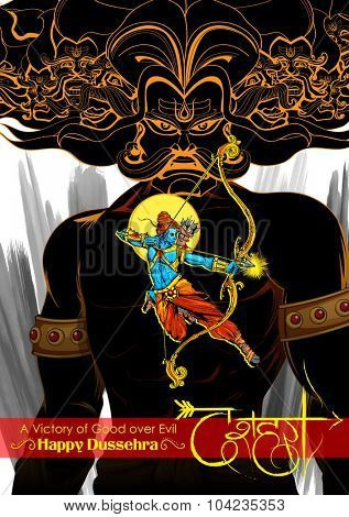illustration of Lord Rama with bow arrow killing Ravan with hindi text meaning Dussehra