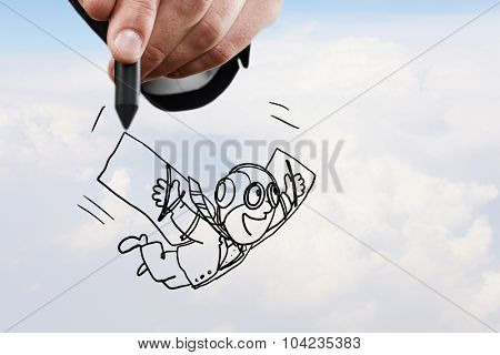 Conceptual image of contented man with wings flying in the clouds