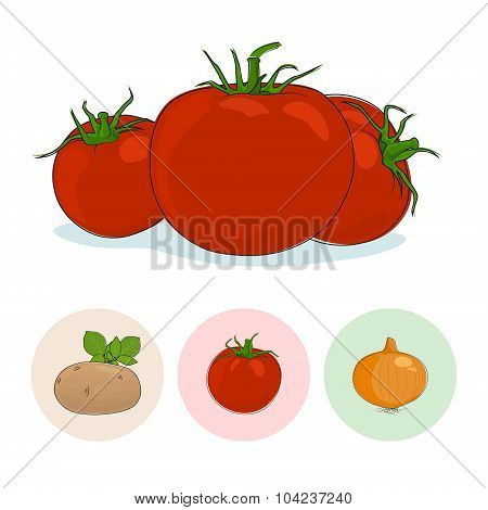 Icons Tomatoes, Potato, Onion