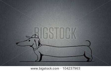 Sketch of Dachshund dog on plain texture background