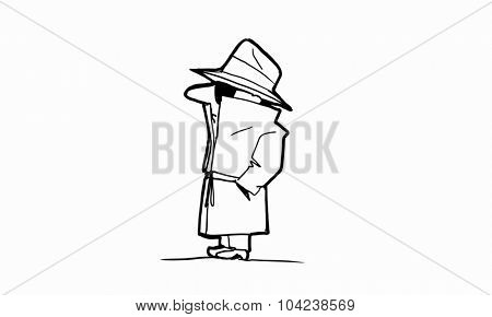 Caricature of gangster man with gun on white background
