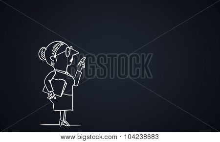 Caricature of funny woman teacher on dark background
