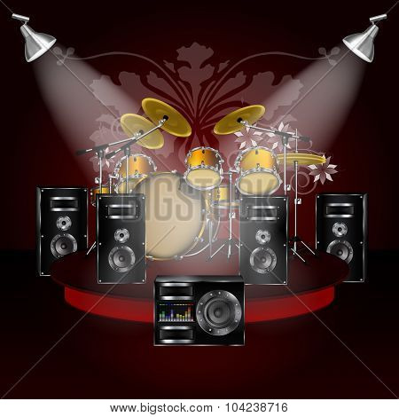 Drum Kit On The Podium With Loudspeakers