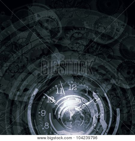 Background image with gears mechanism and time concept