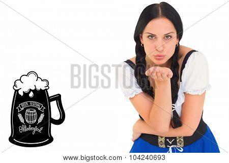 Pretty oktoberfest girl blowing a kiss against oktoberfest graphics