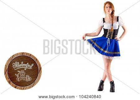 Oktoberfest girl spreading her skirt against oktoberfest graphics