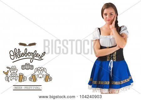 Pretty oktoberfest girl smiling at camera against oktoberfest graphics