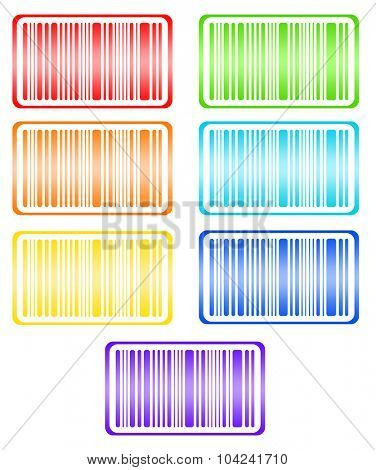 Bright bar codes, isolated on white. Vector image