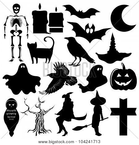Collection of  halloween icons, isolated on white