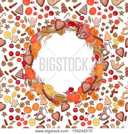Round festive wreath with fruits, cookies, berries and leaves.  For season design, announcements, postcards, posters.