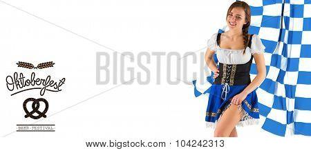 Oktoberfest girl lifting her skirt against oktoberfest graphics
