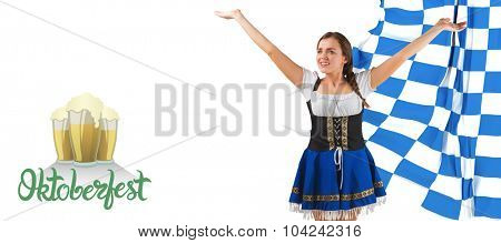 Pretty oktoberfest girl smiling with arms raised against oktoberfest graphics