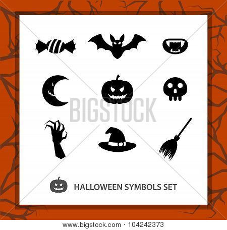 Halloween symbols set: 9 monochrome silhouettes symbolizing Beggars Night.